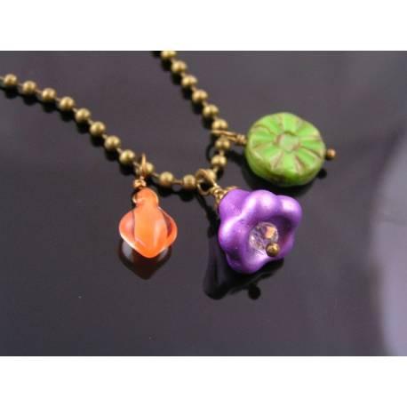 Colourful Charm Necklace, Czech Glass Shapes