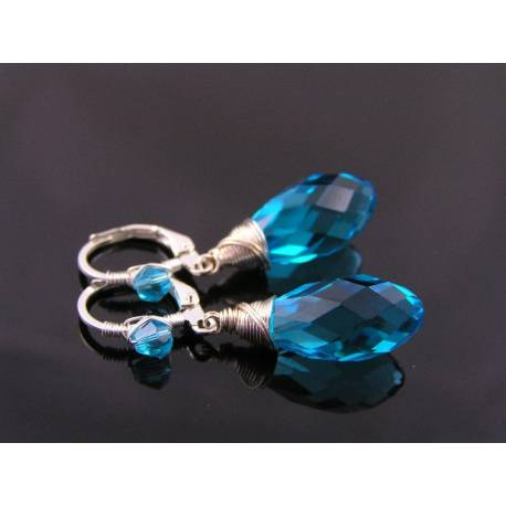 Sparkling Crystal Earrings with Wire Wrapped Lever Back Crystal Ear Wires, 9 Colors, 10 Metal Options