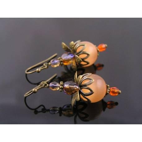 Orange Apricot Cats Eye Earrings