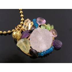 Collage Pendant with White Crystal Agate Drusy