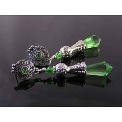 Ornate Green Crystal Earrings