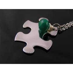 Puzzle Piece and Gemstone Necklace
