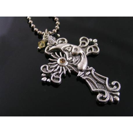 Ornate Crystal-Set Cross Necklace with Moon and Sun
