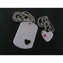 Matching Couple Necklace with Dog Tag and Heart Pendants and Pink Cubic Zirconia
