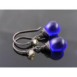 Sapphire Blue Czech Glass Teardrop Earrings
