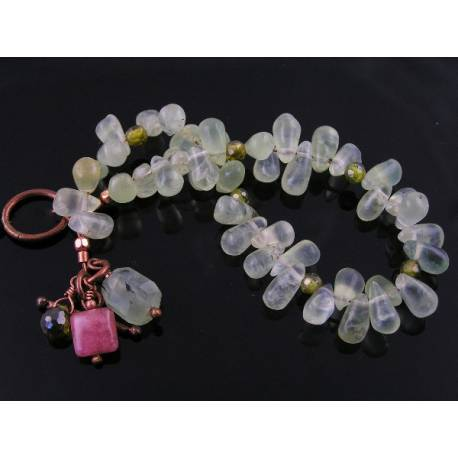 Prehnite and Rhodochrosite Copper Bracelet