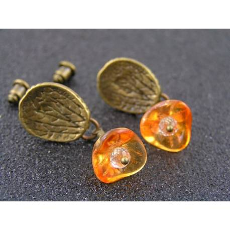 Orange Flower Earrings, Brass Ear Studs
