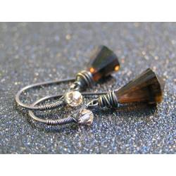 Smokey Quartz Chandelier Cut Drop Earrings