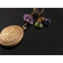 Amethyst, Peridot and Rose Quartz Locket Necklace