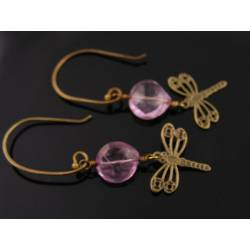Dragonfly Pink Quartz Earrings