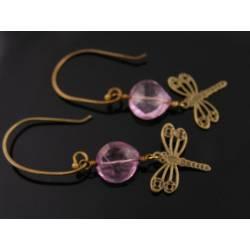 Dragonfly Pink Quartz Earrings