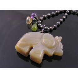 Hand Carved Grey Agate Elephant Necklace
