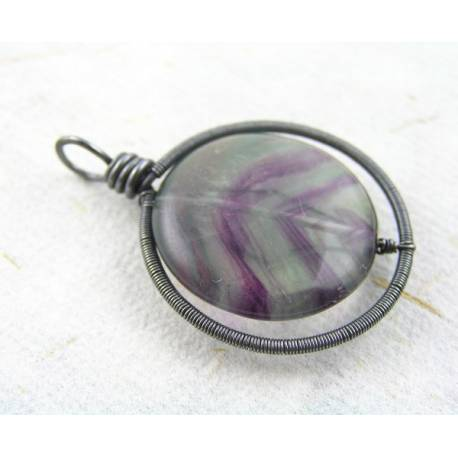 Multi Coloured Fluorite Pendant