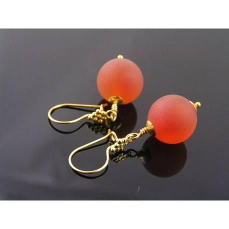 Large Carnelian Earrings, Matte Gemstones with Genuine Vermeil