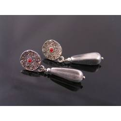 Ornate Silver Stud Earrings with Red Crystals