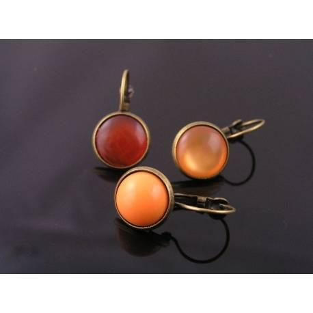 Orange Cabochon Sleeper Style Earrings