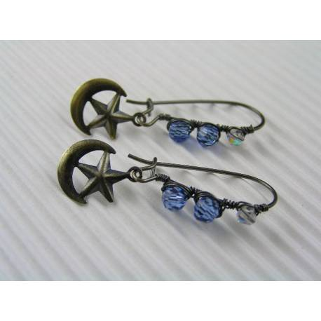 Crystal Ear Wires with Moon Star Charms