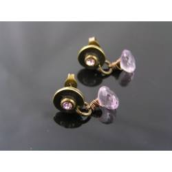Pink Amethyst and Crystal Set Stud Earrings