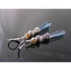 Long Elegant London Blue Drop Earrings