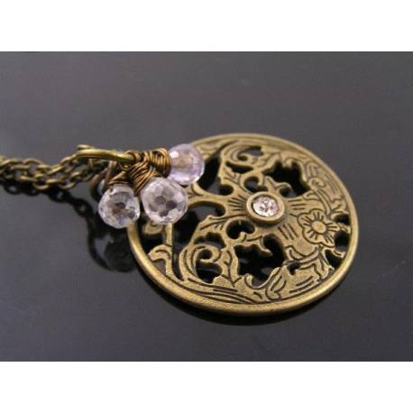 Ornate Pendant Necklace with Amethyst and Cubic Zirconia