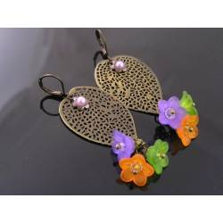 Large and Lightweight Filigree Leaf and Lucite Flower Earrings