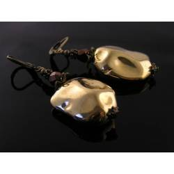Large and Dramatic Vintage Acrylic Gold Nugget Earrings