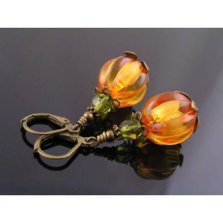 Glowing Lucite Pumpkin Earrings, Halloween Earrings
