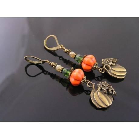 Halloween Pumpkin Earrings, Czech Glass Bead Earrings