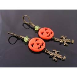Carved Pumpkin and Scarecrow Earrings