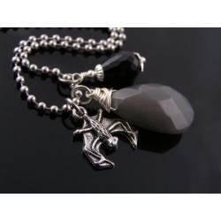 Gothic Grey Jade, Black Onyx and Bat Charm Necklace