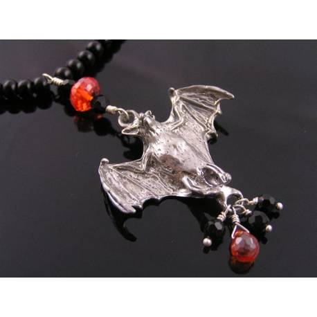 Bat Necklace - Black Onyx and Red Cubic Zirconia, Halloween Necklace