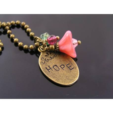Hope Necklace, Pink and White Flowers and Hand Stamped 'Hope' Charm