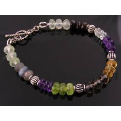 Gemstone Rondelle Sterling Silver Bracelet