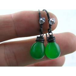 Bright Green Czech Glass Drop Earrings