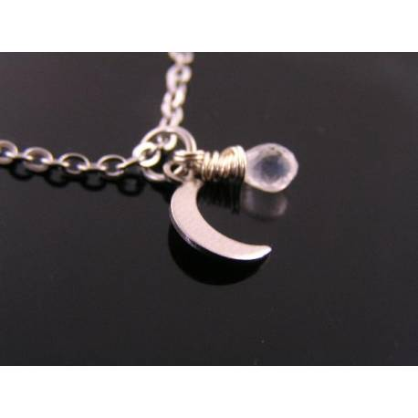 Super Cute Moonstone and Crescent Moon Necklace
