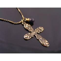 Ornate Cross Necklace with Blue Sapphire Drop, September Birthstone