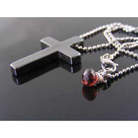Classic Hematite Cross Necklace, Stainless Steel