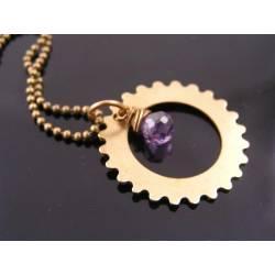 Sprocket Necklace, Steampunk Necklace with Purple Cubic Zirconia