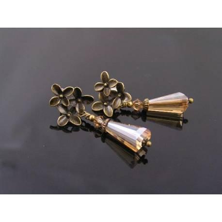 Topaz Crystal Flower Stud Earrings