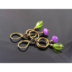 Purple Jade and Bright Green Czech Drop Earrings