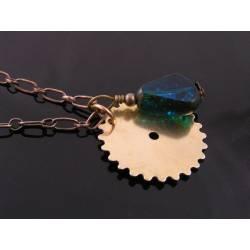 Steampunk Necklace, Gear and Czech Glass Bead