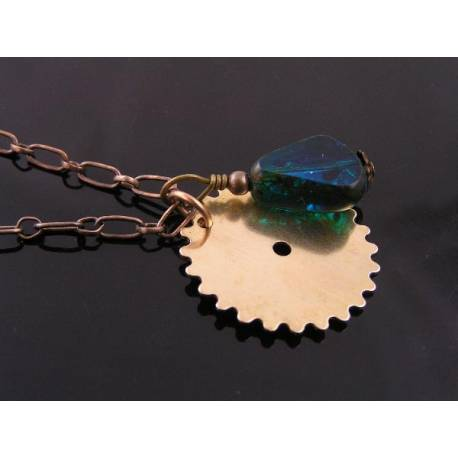 Steampunk Necklace, Gear and Czech Glass Bead