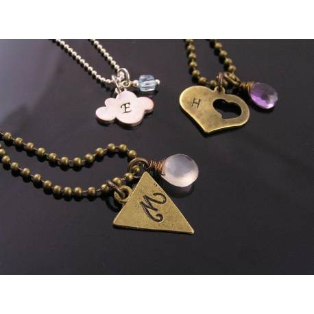 Customised Initial Necklace with Birthstone
