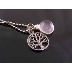 Tree of Life Necklace with Rose Quartz and Amethyst