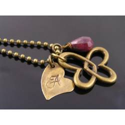 Ruby Necklace with Initial Heart Infinity Pendant,