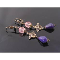 Thinking Angel Purple Bead Earrings