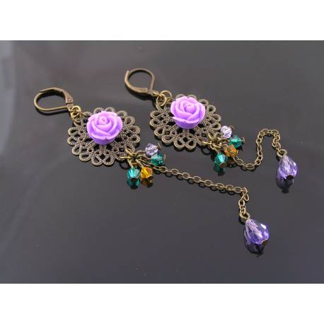 Long and Light Weight Flower Filigree Crystal Earrings