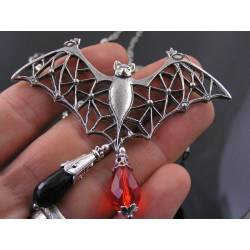 Large Detailed Filigree Bat Pendant with Black Onyx and Crystal, Necklace