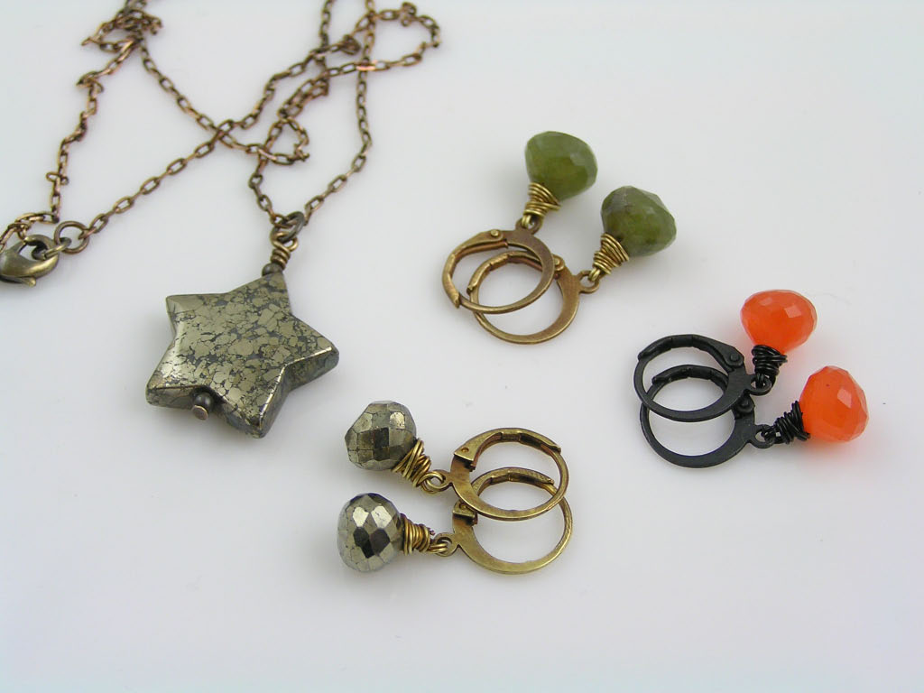 Pyrite Earrings, Carved Pyrite Star Necklace, Vesuvianite Earrings, Carnelian Earrings