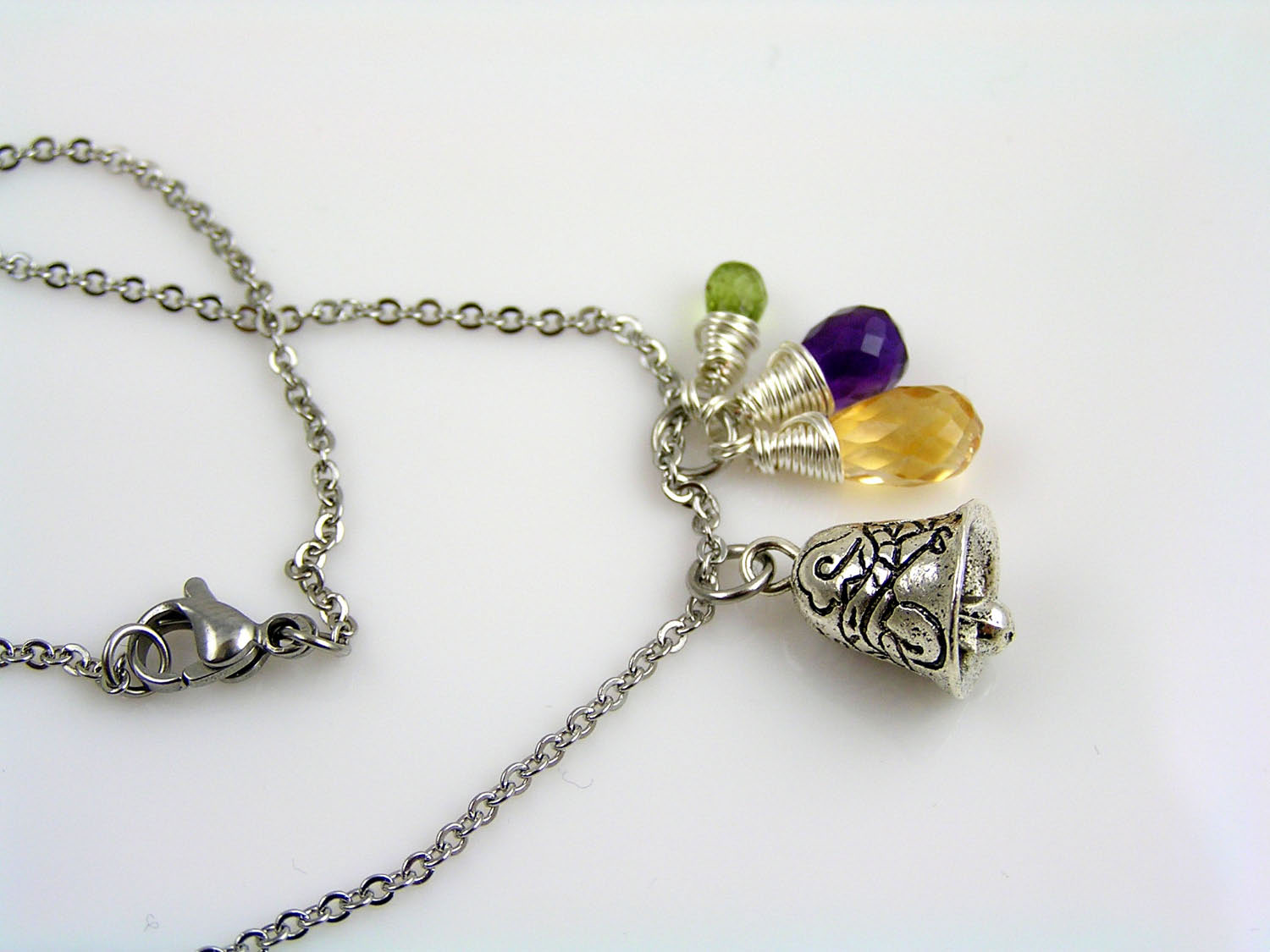 Gemstone Necklace with Gremlin Bell Charm